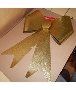 "Bow Gold Glitter 15"" x 20"" Gold Glitter Coated Plastic indoor/outdoor 104R - $4.49"