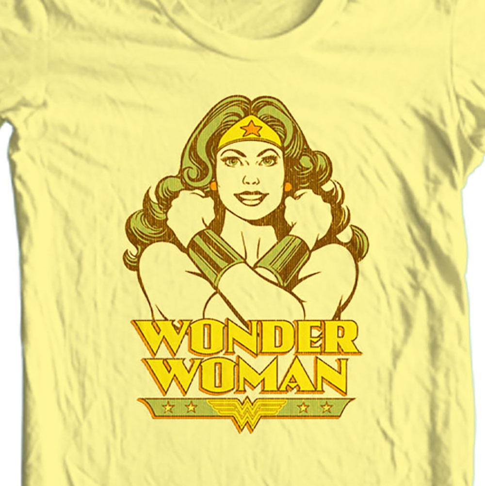Wonder women retro silver age old style yellow t shirt