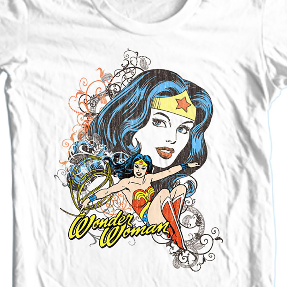 Wonder women retro vintage old style white t shirt