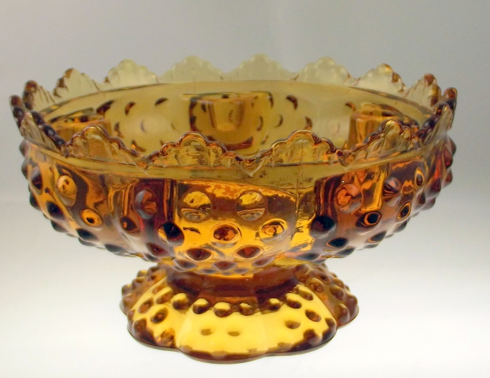 Fenton_amber_glass_hobnail_candle_holder_centerpiece_1