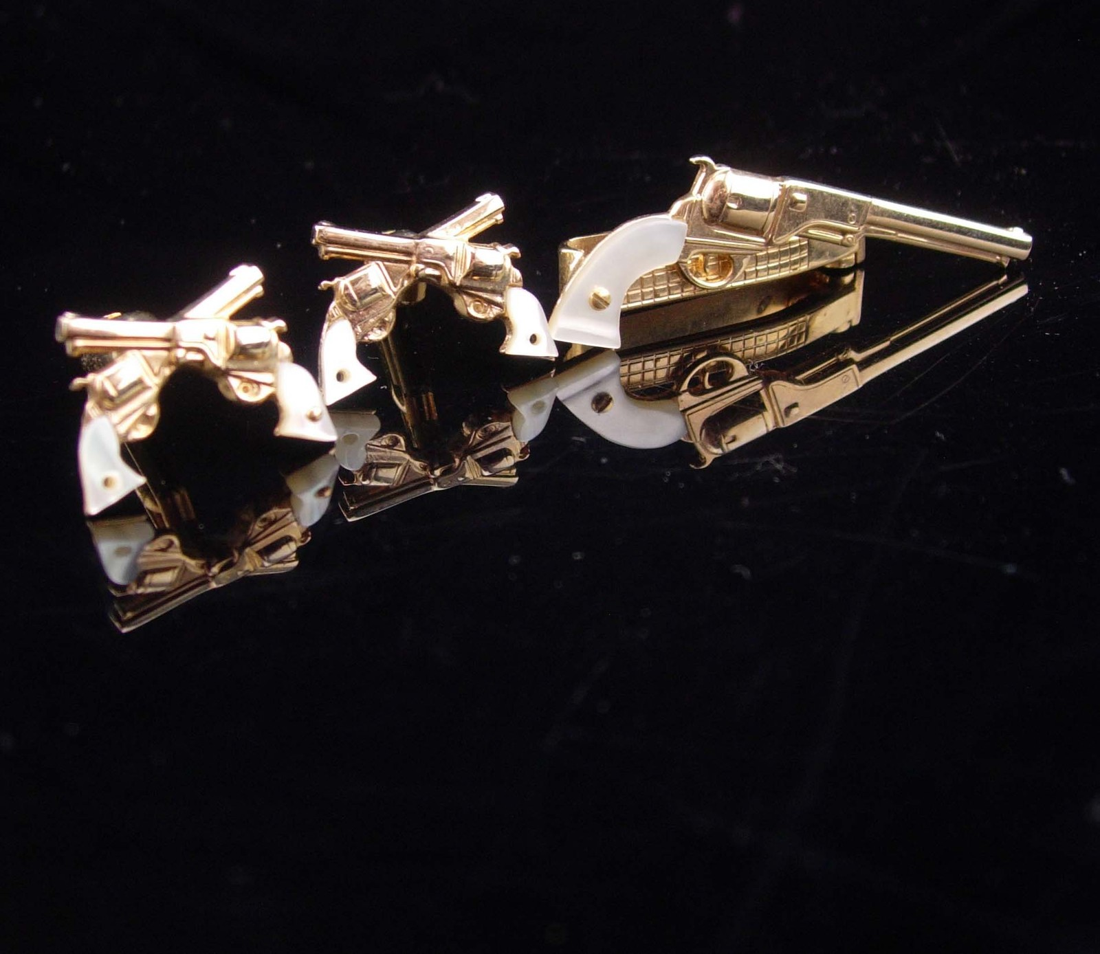 e0f68e96a205 Cowboy Cufflinks / Vintage pistol Tie Clip / and 50 similar items