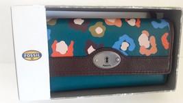 Fossil Marlow NVL Flap Clutch Wallet Dark Turqu... - $57.42