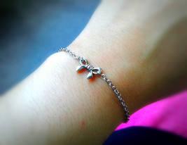 Tiny Siver Bow Bracelet Tiny Bow Bracelet Bow Charm Bracelet Minimalist ... - $23.00