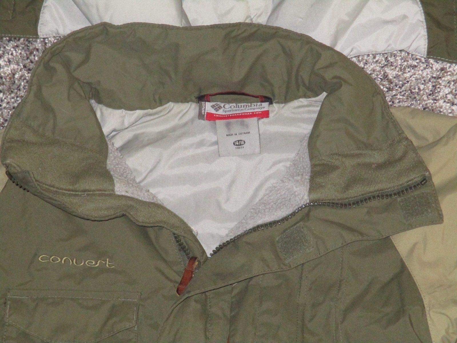 Boys Columbia Convert Snowboarding Jacket w/ Hood, Green, Size 14/16