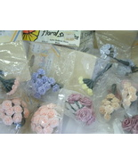 Lot of 149 (15pkgs) Mini Satin Wrap Roses Various Colors and Sizes for C... - $8.99