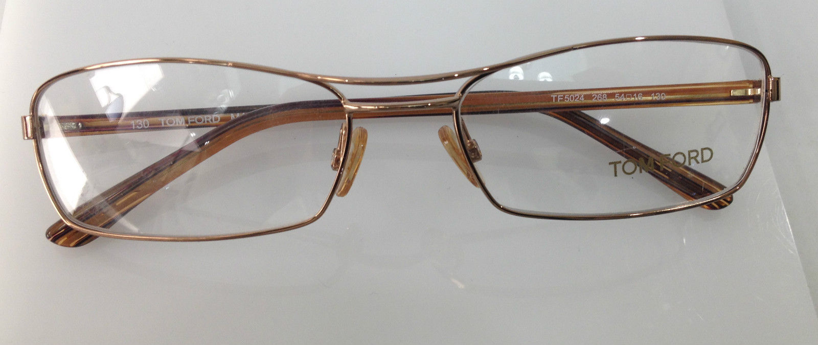 TOM FORD TF 5024 COLOR 268 LIGHT BROWN METAL EYEGLASSES ...