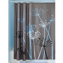 "NEW InterDesign Bathroom Shower Curtain Thistle Gray/Blue Modern Decor 72"" 37221 - $13.65"