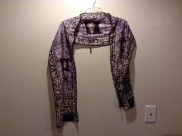 Pure Silk Lavender Scarf w Floral Borders - $39.60