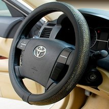 PANDA SUPERSTORE Carved Design Steering Wheel Cover,Classic Golden