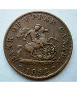 1852 Bank of upper Canada One Half Penny Copper... - $19.80