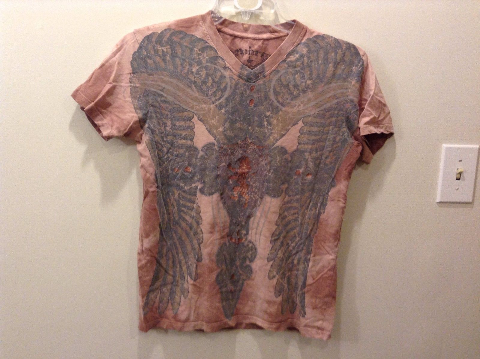 Mens Denarten Faded Deep Pink Tie dye T Shirt w Cracked Eagle Dragon Design Sz M