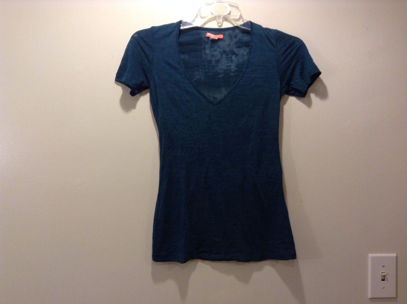 Ladies BDG Dark Teal Deep V Neck Semi Sheer Short Sleeve Shirt Sz Small