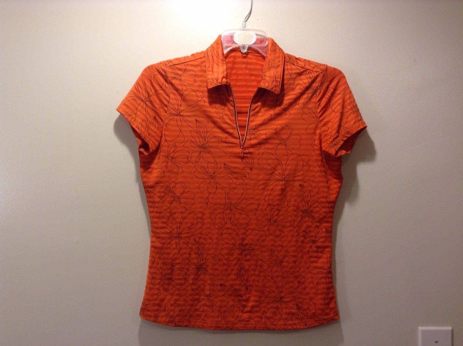 Swing Orange Color Base w Stripe Flower Design Top Sz Medium