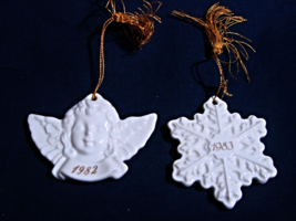Vintage-Avon 1982 (Angel), 1983 (Snowflake) white porcelain ornaments--Japan - $11.00