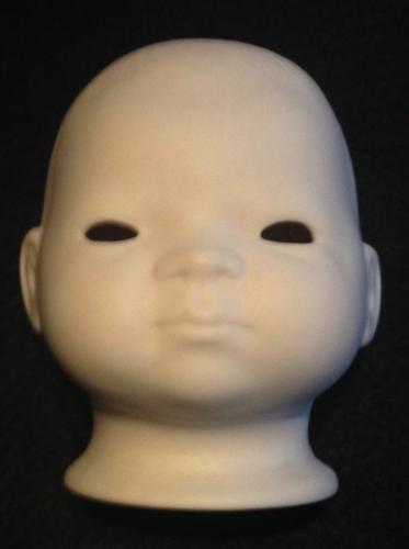 Ceramic Baby Doll Part Head Unpainted Unmarked Excellent 3""