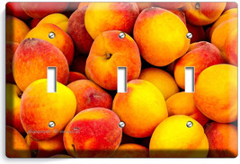 Ripe Peaches Triple Light Switch Wall Plate Dining Room Kitchen Home Fruit Decor - $14.57