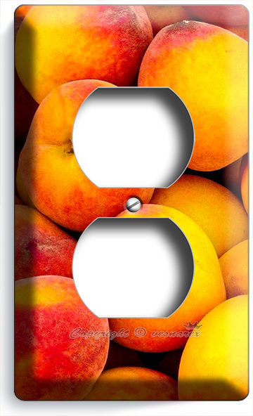 RIPE PEACHES RECEPTACLE OUTLET WALL PLATE COVERS DINING ROOM KITCHEN FRUIT DECOR