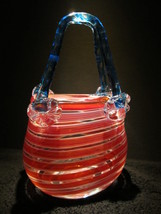 Red White and Blue Hand Blown Glass Handbag Vase - $75.00