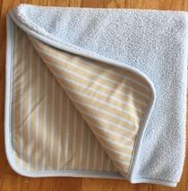 "Carters Blue Plush Fleece/Knit Cotton Stripe Baby Boy's Blanket 29"" x 31"" - $37.20 CAD"