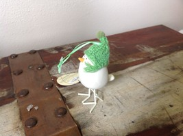 Miniature white ceramic bird w feet w knit hat color choice dept 56 new image 5
