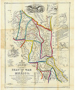 1847 Map Seat Of War In Mexico Wall Art Poster Print Decor Vintage History - $12.87 - $26.73