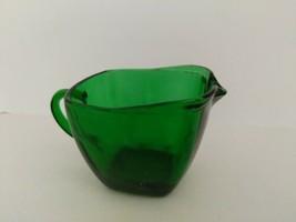 Vintage Anchor Hocking Forest Emerald Green Depression Glass Square Creamer - $9.85