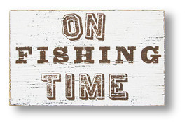 (#3313) Rustic Wooden Sign 'On Fishing Time' is approximately 7 x 10  - $20.00