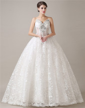 Ball Gown Lace Wedding Dresses,Wedding Gown,Bridal Dress Cheap Ivory/White - $194.00
