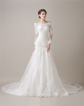 Mermaid Lace Wedding Dresses Long Sleeves,Wedding Gown,Bridal Dress Cheap - $209.00