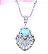 Beautiful Turquoise Heart And Cz Rhinestone Pendant Sweater Chain Necklace (T1) - $4.99