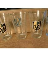 Vegas Golden Knights NHL 16 oz Glasses Set of 4 Promo Station Casinos Lo... - $41.57