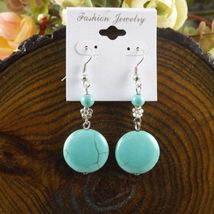 TURQOUSE BEAD WITH FLOWER DANGLE EARRINGS    (T13) - $2.99