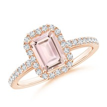1.2ct Emerald-Cut Morganite Diamond Halo Engagement Ring Gold/Platinum - $986.96+