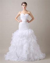Organza Ruffles Skirt Wedding Dresses Mermaid,Wedding Gown,Bridal Gown Cheap  - $194.00