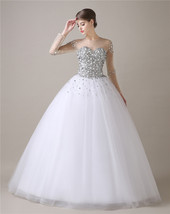 Beaded Sparkle Wedding Dresses Long Sleeves,Wedding Gown,Bridal Dress Gown  - $239.00