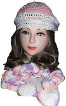 HAT& Scarf Set - Variegated Pink-Lavender-White Curly scarf - Hand Made ... - $24.74