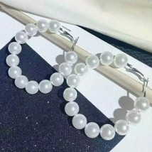 Big Silver White Multi Beaded Pearl Hoop Earrings Design Fashion Jewelry... - $19.80