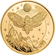 Death's Head Hawkmoth Gold Coin 1500 Shillings Tanzania 2018 - $135.23