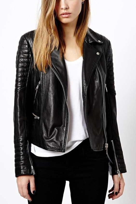 WOMEN BIKER MOTORCYCLE CASUAL SLIM FIT RIDER REAL GENUINE  LEATHER JACKET-A11