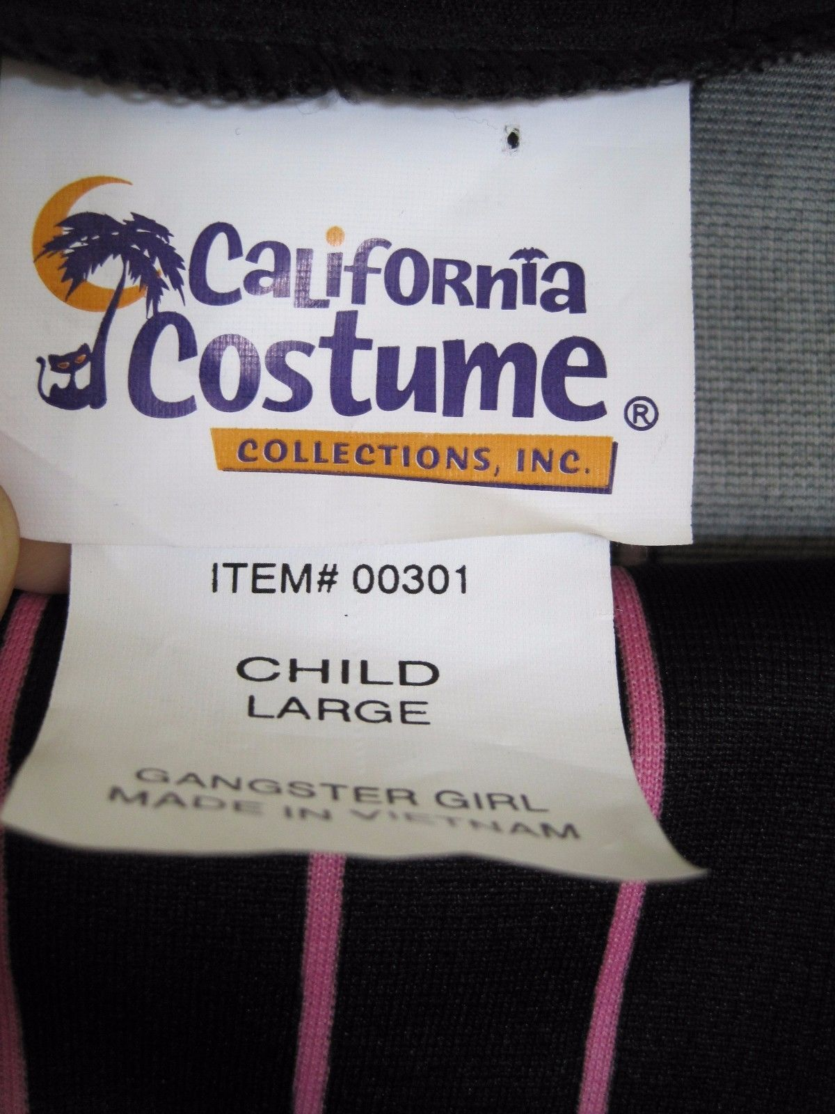 California Costume Girls Gangster Costume Pants Jacket Hat Large Kids Mob stripe