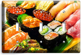 Sushi Rolls Sashimi Triple Light Switch Wall Plate Japanese Restaurant Bar Decor - $14.57