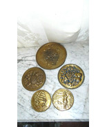 5 BRASS WALL PLAQUES, MID-CENTURY MODERN COLLECTIBLE,SHIPS, GRAPES, FLOW... - $8.59