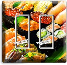 Sushi Rolls Sashimi Double Gfi Light Switch Wall Plate Japanese Restaurant Decor - $10.79