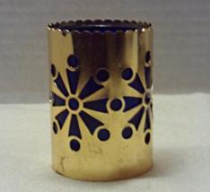 Vintage Pierced Metal Snowflake Design Blue Glass Insert Candle Holder Christmas - $8.00