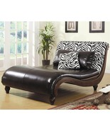 Zebra Animal Print / Faux Leather Chaise Lounge Chair - $1,269.98