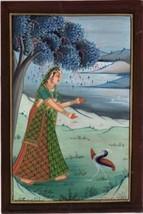 Ragini Ragamala Handmade Painting Rajasthani India Rajput Ethnic Folk Pa... - $69.98