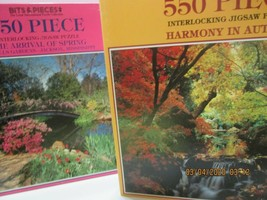 2 Bits & Pieces Jigsaw Puzzles  550 Pieces Harmony in Autumn & Arrival o... - $11.88