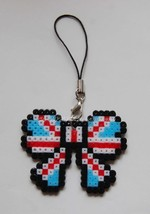 Ribbon Butterfly Shape Strap Charm Mascot - Perler Beads Hand Made Craft... - $7.99