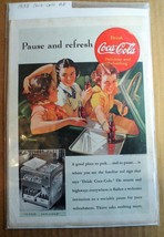 1938 COCA-COLA original small full-page advertisement pretty girls convertible - $9.49
