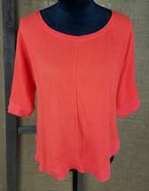 Postmark Anthropologie womens S sweatshirt blouse 3/4 sleeve orange asymmetric - $26.68